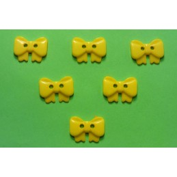 LOT 6 BOUTONS : noeud papillon jaune 17mm