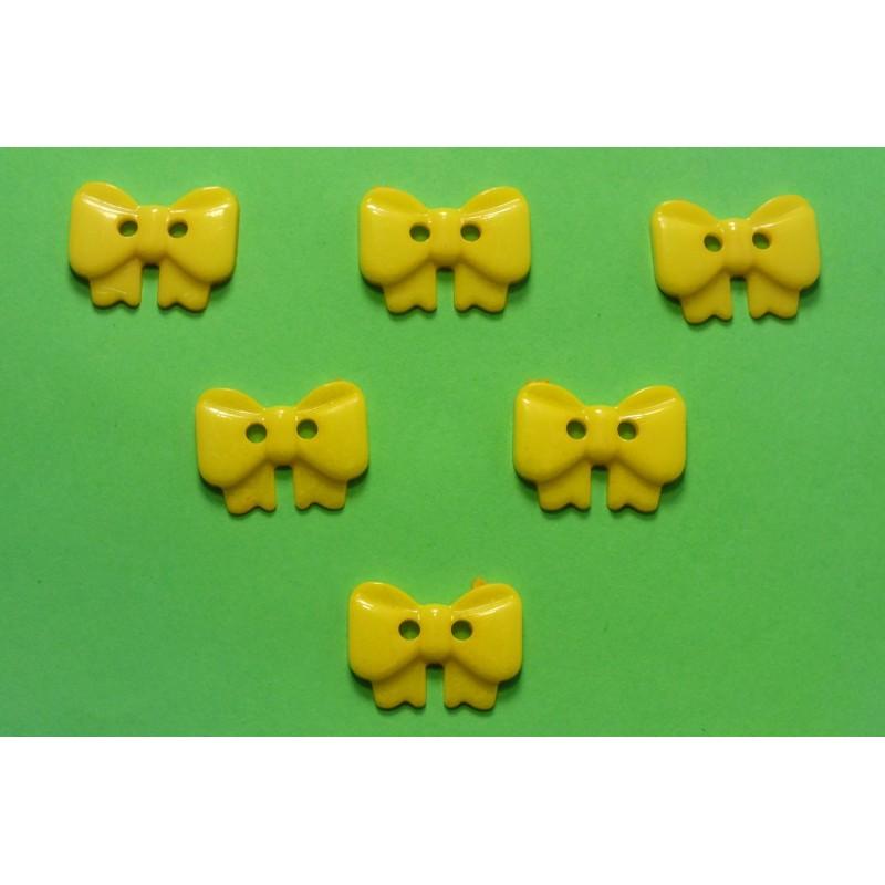 LOT 6 BOUTONS : noeud papillon jaune 17mm