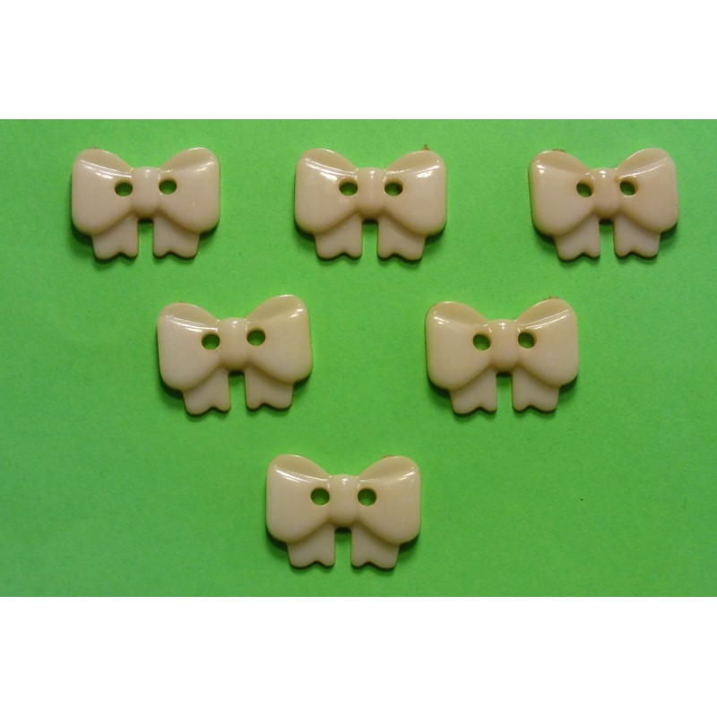 LOT 6 BOUTONS : noeud papillon beige 17mm
