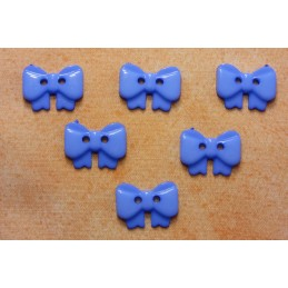 LOT 6 BOUTONS : noeud papillon bleu 17mm