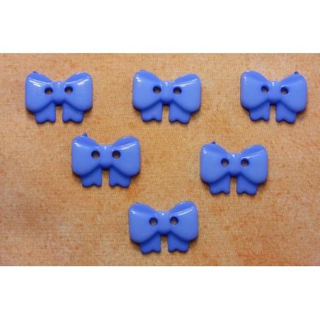 LOT 6 BOUTONS : noeud papillon bleu 17mm