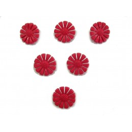 LOT 6 BOUTONS : marguerite rouge 19mm