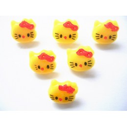 LOT 6 BOUTONS : Kitty jaune 14mm