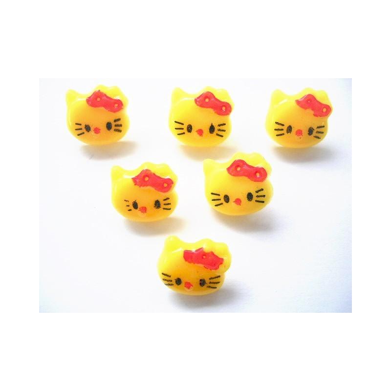 LOT 6 BOUTONS : Kitty jaune 14mm