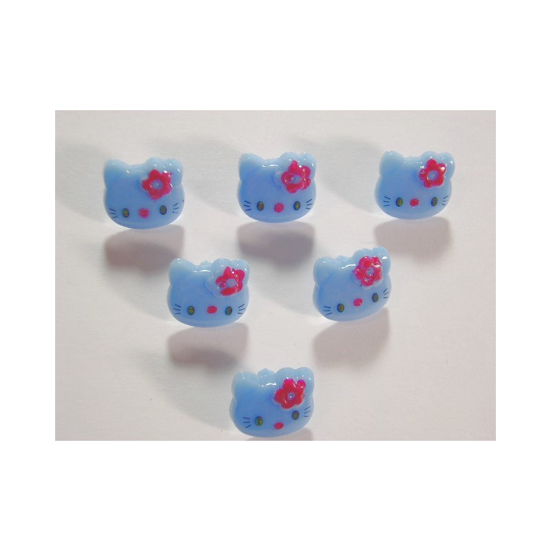 LOT 6 BOUTONS : Kitty bleu 13mm