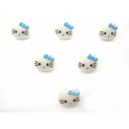 LOT 6 BOUTONS : Kitty blanc/bleu 13mm