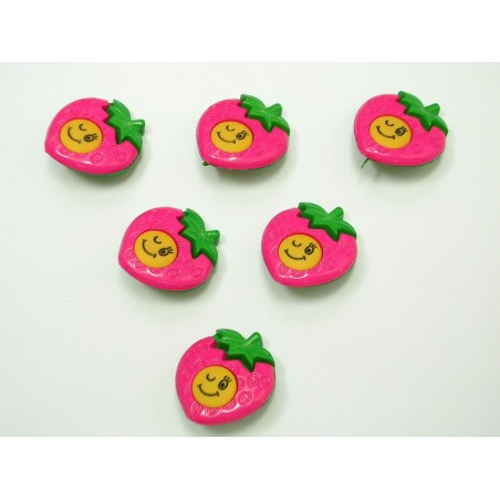LOT 6 BOUTONS : fraise sourire rose/vert 22mm