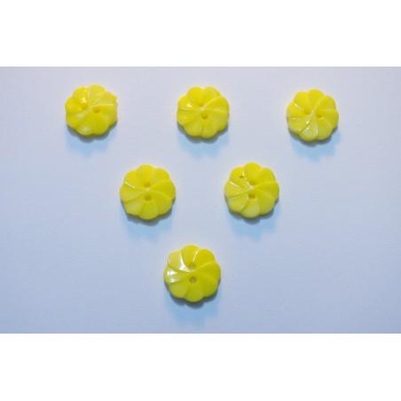 LOT 6 BOUTONS : fleur torsadée jaune clair 17mm