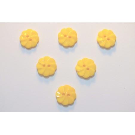 LOT 6 BOUTONS : fleur torsadée jaune 17mm
