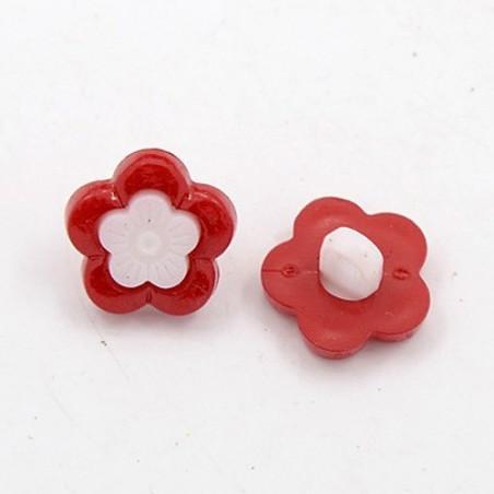 LOT 6 BOUTONS : fleur rouge/blanche 14mm