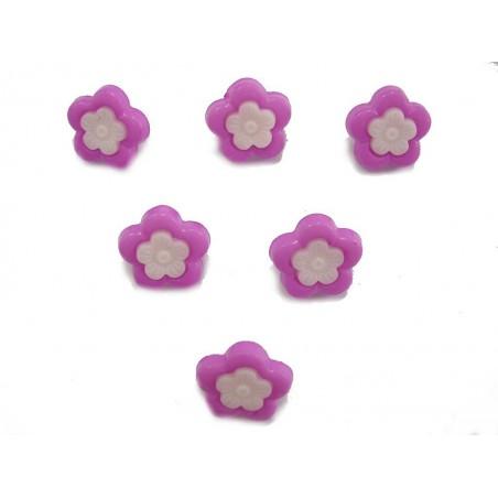 LOT 6 BOUTONS : fleur mauve/blanche 14mm