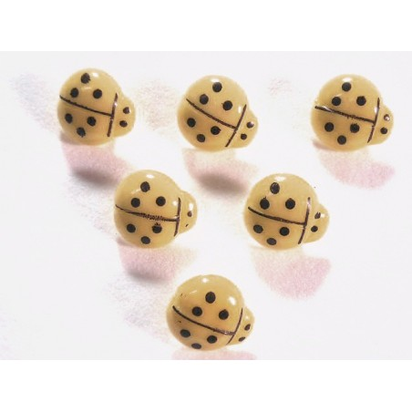 LOT 6 BOUTONS : coccinelle beige 14mm