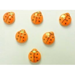 LOT 6 BOUTONS : coccinelle orange 13mm