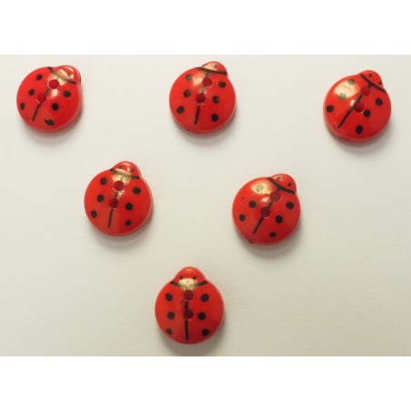 LOT 6 BOUTONS : coccinelle rouge 13mm