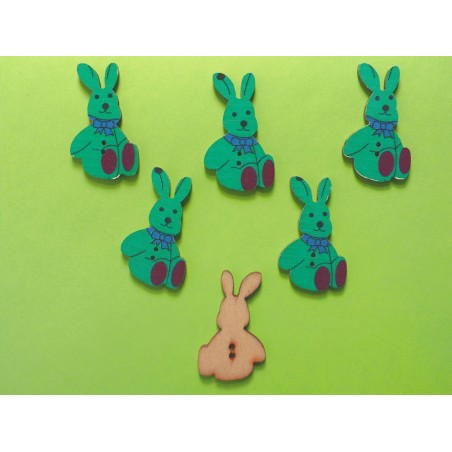 LOT 6 BOUTONS BOIS : lapin 30*17mm