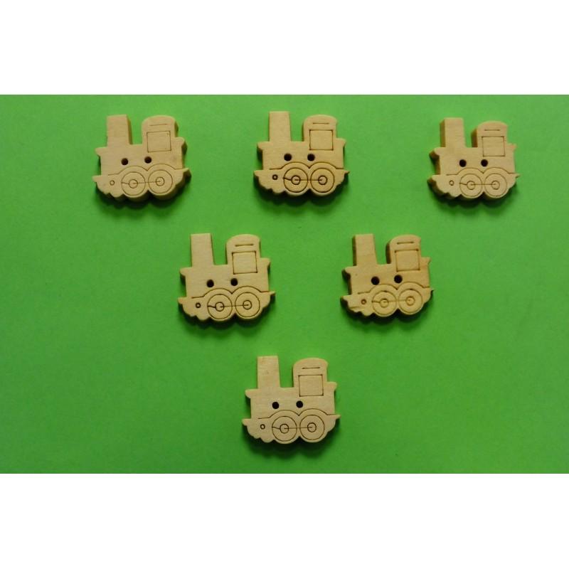 LOT 6 BOUTONS BOIS : locomotive 17mm