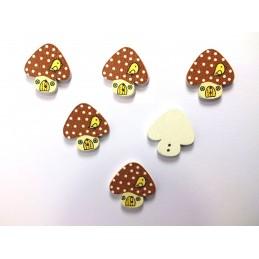 LOT 6 BOUTONS BOIS : champignon 23*22mm (17)