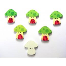 LOT 6 BOUTONS BOIS : champignon 23*22mm (18)