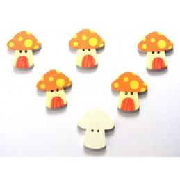 LOT 6 BOUTONS BOIS : champignon 23*22mm (20)