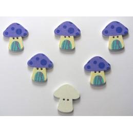 LOT 6 BOUTONS BOIS : champignon 23*22mm (24)