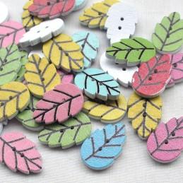 LOT 8 BOUTONS BOIS : feuilles multicolores 20mm