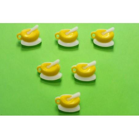 LOT 6 BOUTONS : dejeuner jaune/blanc 19mm