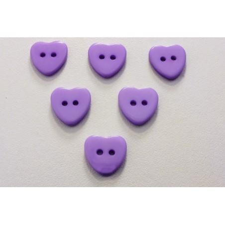 LOT 6 BOUTONS : coeur mauve 13mm