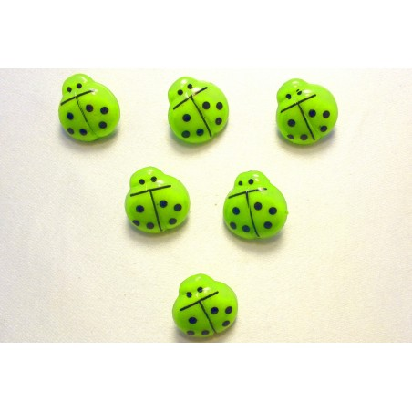 LOT 6 BOUTONS : coccinelle verte 16mm