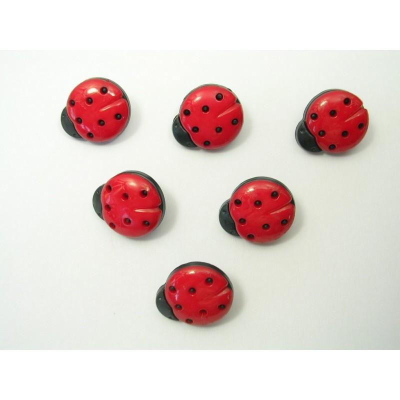 LOT 6 BOUTONS : coccinelle rouge/noire 15mm