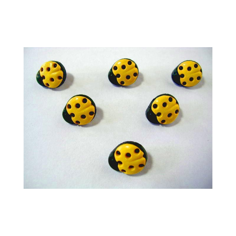 LOT 6 BOUTONS : coccinelle jaune 11mm