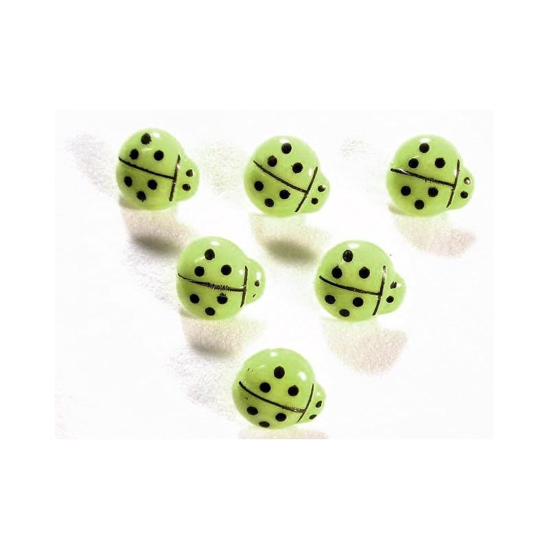 LOT 6 BOUTONS : coccinelle vert/noire 14mm