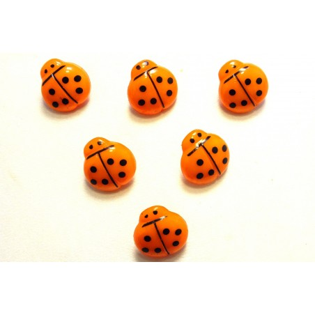 LOT 6 BOUTONS : coccinelle orange/noire 14mm