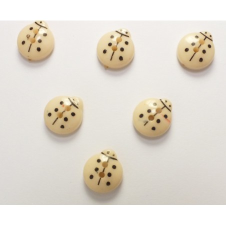 LOT 6 BOUTONS : coccinelle beige 13mm