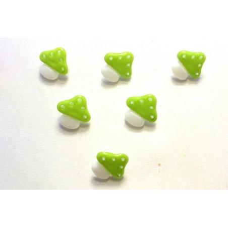 LOT 6 BOUTONS : champignon vert/blanc 15mm