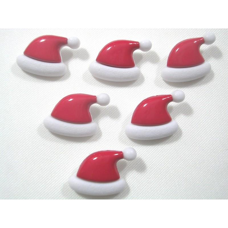 LOT 6 BOUTONS : bonnet rouge/blanc 17mm