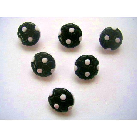 LOT 6 BOUTONS : ballon foot noir/blanc 13mm