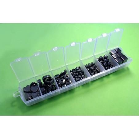 Boite à compartiments avec 160 pierres hématites- 7 formes differentes (boite n° 07)