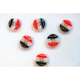 LOT 6 BOUTONS : rond multicolore 13mm (n° 11)
