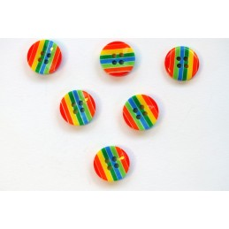 LOT 6 BOUTONS : rond multicolore 13mm (n° 14)