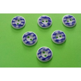 LOT 6 BOUTONS : rond vichy brillant marine/blanc 13mm