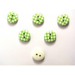 LOT 6 BOUTONS BOIS : rond motif damier vert/blanc 15mm (01)