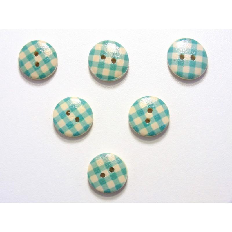 LOT 6 BOUTONS BOIS : rond motif vichy bleu/blanc 15mm (08)