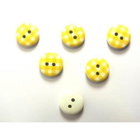 LOT 6 BOUTONS BOIS : rond motif vichy jaune/blanc 15mm (14)