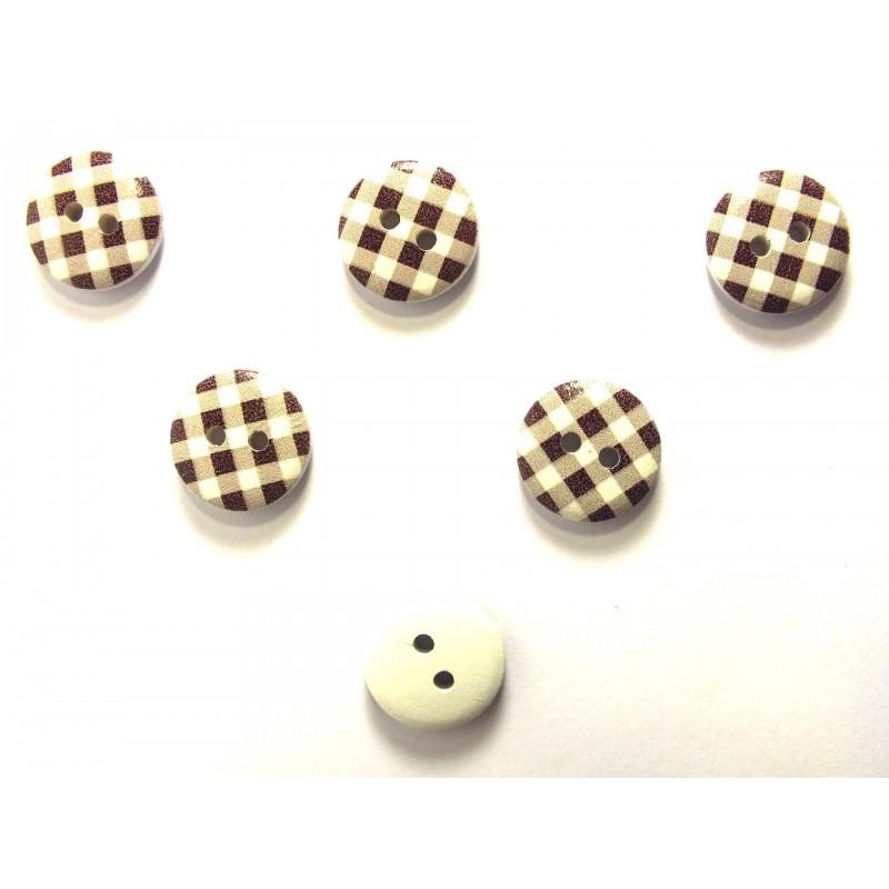 LOT 6 BOUTONS BOIS : rond motif vichy marron/blanc 15mm (13)