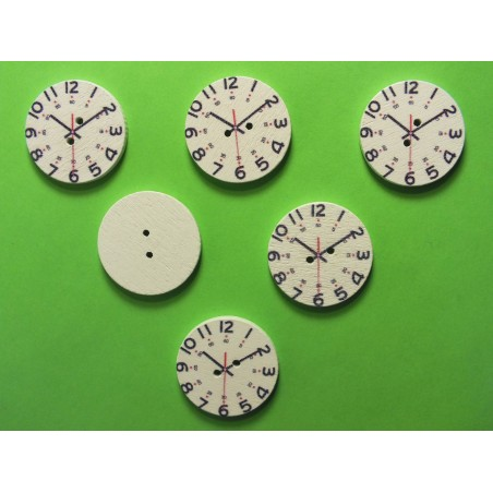 LOT 6 BOUTONS BOIS : rond motif pendule 25mm
