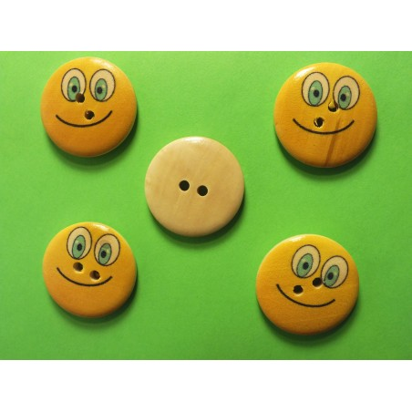 LOT 5 BOUTONS BOIS : rond Smiley 25mm (05)
