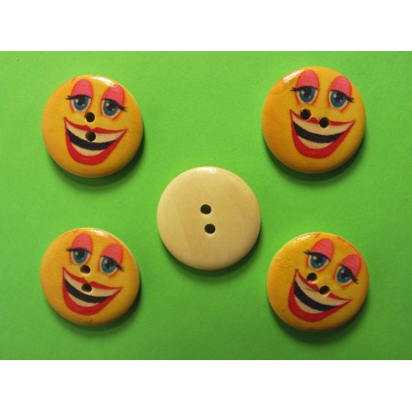 LOT 5 BOUTONS BOIS : rond Smiley 25mm (02)