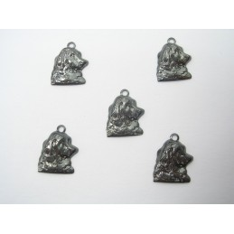 LOT  5 CHARMS METALS : tete de Setter 13 mm