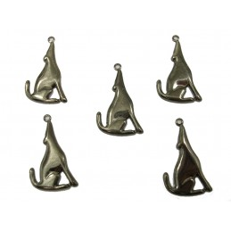 LOT  5 CHARMS METALS DORES : coyotte 28 mm