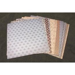 Lot de 12 x 2 Papiers Scrapbooking de type vieux papier peints format 15,2 x 15,2 cm